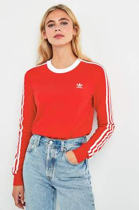 adidas Womens Red 3 Stripe Long Sleeved T-Shirt - Red