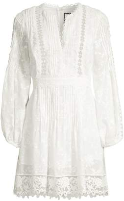 Alexis Artemis Plisse Lace Silk-Blend A-Line Tunic Dress