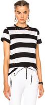 Amiri Cashmere Wide Stripe Tee in Black,Stripes,White.