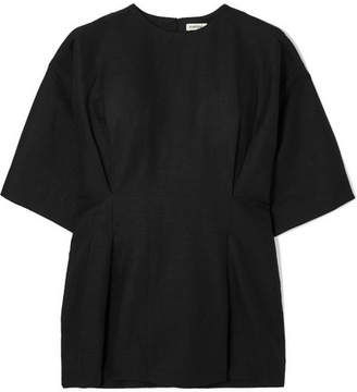 Totême Loano Pleated Cotton And Linen-blend Top - Black