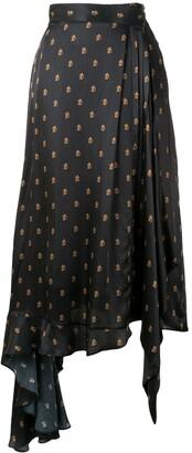 Preen by Thornton Bregazzi Asymmetric Monogram Skirt