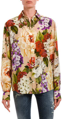 Dolce & Gabbana Floral Button-Front Long-Sleeve Silk Blouse