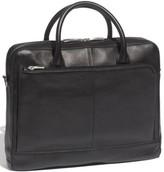 Bosca Slim Leather Briefcase - Black