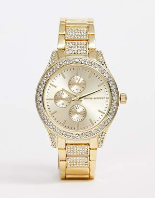 Asos Design DESIGN bracelet watch with crystal detail watch in gold tone