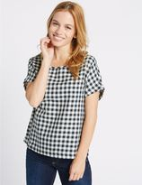 Marks and Spencer PETITE Checked Tie Back Shell Top
