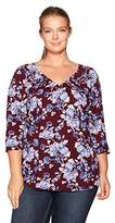 Lucky Brand Women's Plus Size Floral Pintuck Top
