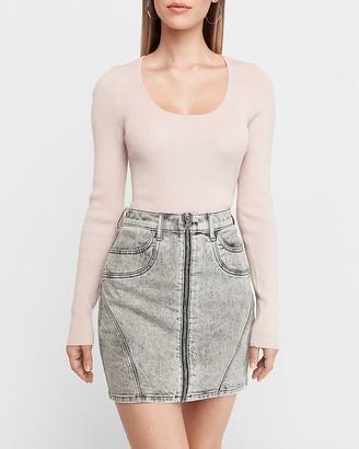 Express High Waisted Acid Wash Zip Front Denim Skirt