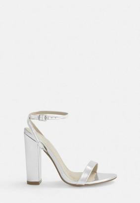 Missguided Silver Block Heel Sandals