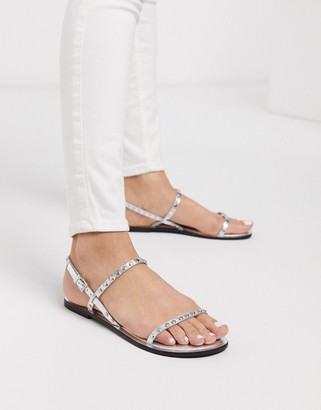 ASOS DESIGN Fuse leather studded flat sandals in silver