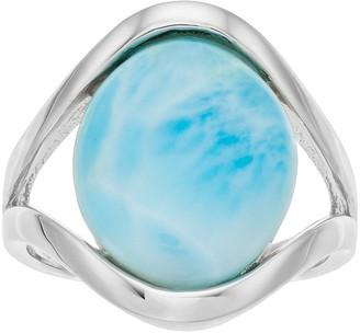 Sterling Silver Larimar Cabochon Split Shank Ring