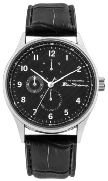 Ben Sherman Men's Black Synthetic Leather Strap Multifunction Watch, 41mm