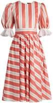 ANNA OCTOBER Puff-sleeve striped cotton dress