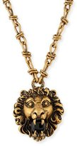 Gucci Lion Head Necklace with Simulated Pearl