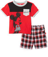 Children's Apparel Network Red Mickey Mouse Pocket Tee & Plaid Shorts - Infant