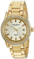 Akribos XXIV Women's Genuine Diamond Hour Markers on a Gold Sunburst Dial and Crystal Accented Bezel on Gold-Tone Stainless Steel Bracelet Watch AK928YG