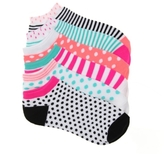 Mix No. 6 Dot Stripe Womens No Show Socks - 6 Pack