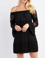 Charlotte Russe Lace-Inset Off-The-Shoulder Shift Dress