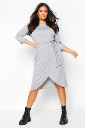 boohoo Plus 3/4 Sleeve Tie Waist Wrap Midi Dress