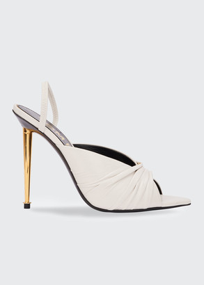 Tom Ford Open-Toe Leather Slingback Pumps