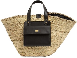 Dolce & Gabbana Kendra Straw & Leather Tote Bag