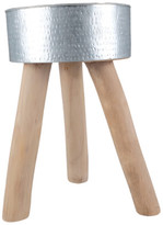 Beaten Aluminium Stool with Teak Branch