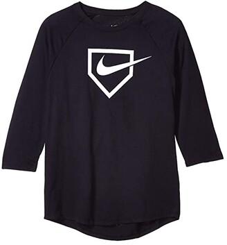 Nike Kids Dry Swoosh Home Plate Tee (Little Kids/Big Kids) (Black) Boy's Clothing