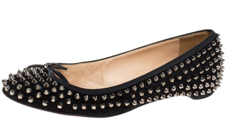 Christian Louboutin Black Suede Spiked Big Kiss Ballet Flats Size 40