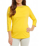 Westbound Boat Neck 3/4 Sleeve Solid Top