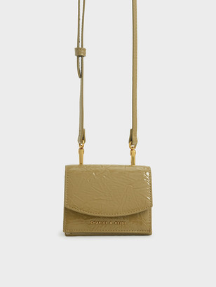 Charles & Keith Wrinkle Patent Mini Short Wallet