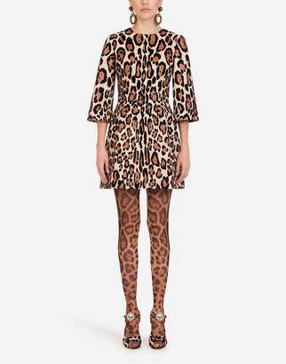 Dolce & Gabbana Short Dress In Woven Fabric With Flocked Leopard Print