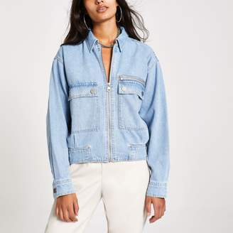 River Island Womens Light Blue denim utility bomber jacket