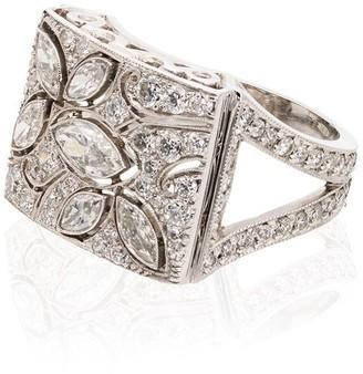Platinum And Diamond Floral Ring