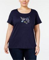 Karen Scott Plus Size Cotton Embellished Hummingbird T-Shirt, Only at Macy's
