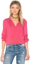 Velvet by Graham & Spencer Jena V Neck Blouse in Pink. - size M (also in S,XS)