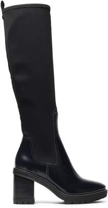 Tory Burch Leather And Scuba-paneled Knee Boots