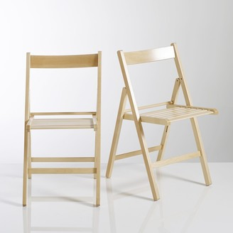 La Redoute Interieurs YANN Solid Beech Folding Chairs (Set of 2)