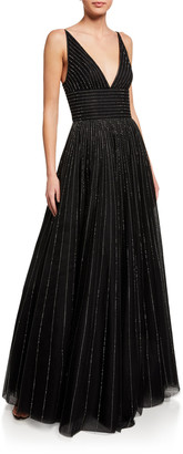 St. John Sequined English Tulle V-Neck Gown