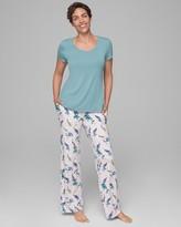 Cool Nights Short Sleeve Pajama Set Peacocks W Jaded RG