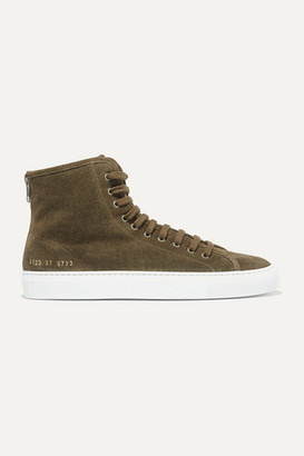 Common Projects Tournament Shearling-lined Suede High-top Sneakers - Army green