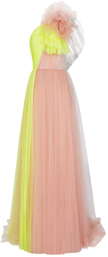 DELPOZO One Shoulder Tulle Gown