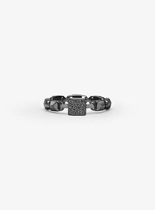 Michael Kors Black Rhodium-Plated Sterling Silver Mercer Link Pave Center Ring