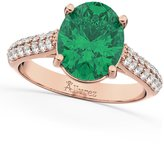 Allurez (4.42ct) 18k Rose Gold Oval Cut Emerald and Diamond Engagement Ring
