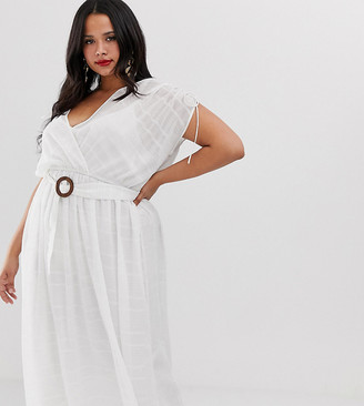 Asos DESIGN Curve wrap front maxi dress with buckle belt in self stripe-White