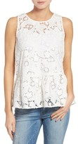 Women's Halogen Cotton Lace Ruffle Hem Tank