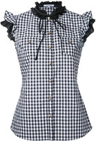 GUILD PRIME gingham frilled sleeveless shirt