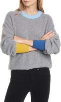 Veronica Beard Nelda Contrast Trim Merino Wool & Cashmere Sweater