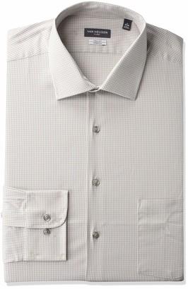 Van Heusen Van Huesen Men's Big Fit Dress Shirts Flex Collar Stretch Check