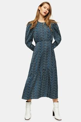 Topshop Blue Long Sleeve Animal Print Midi Dress