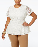 Charter Club Plus Size Lace Peplum Top, Only at Macy's