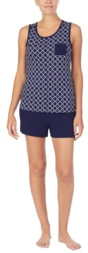 Nautica Printed Tank Top & Solid Boxer Shorts Pajama Set